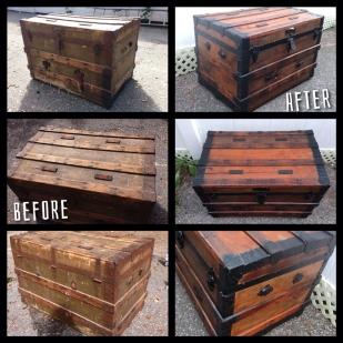 Before & After Steamer Trunk Restoration