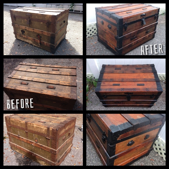 Before & After Steamer Trunk Restoration