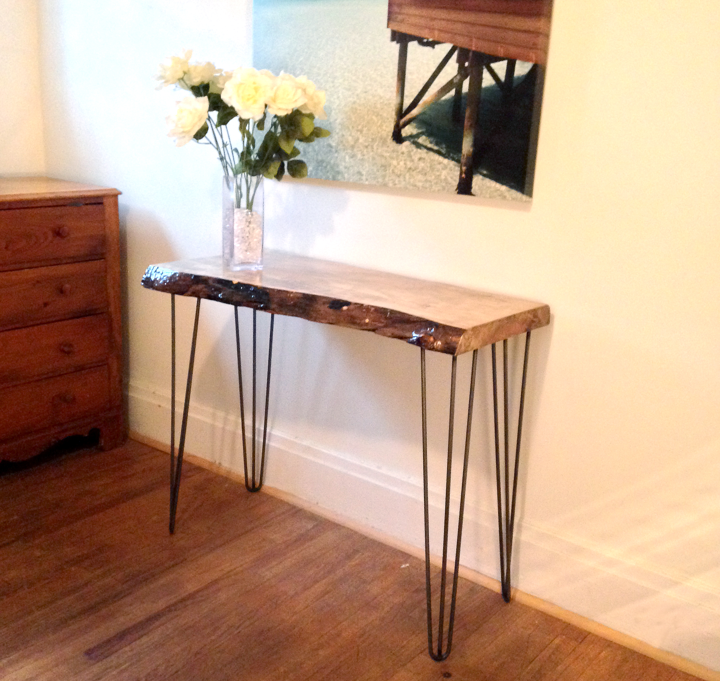 Spalted maple console table ajs antique revival spalted maple console table geotapseo Image collections
